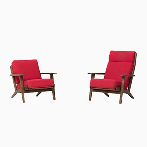 Vintage GE290 High & Low Easy Chairs Set by Hans J. Wegner for Getama, 1960s