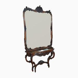 Table Console Antique avec Miroir
