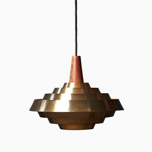 Danish Teak and Brass Pendant, 1960s