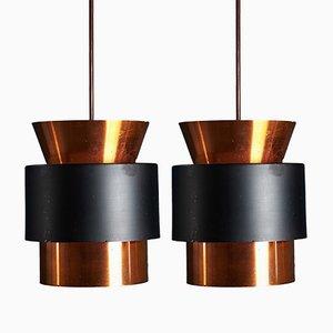 Lámparas colgantes danesas Mid-Century de Johannes Hammerborg para Fog & Morup. Juego de 2