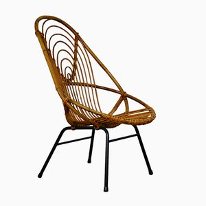 Rattan Lounge Chair by Rohé Noordwolde, 1960s