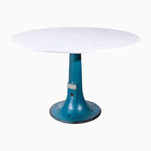 Round Industrial Console Table with Carrara Marble Top from Taylor Hobson, 1920s