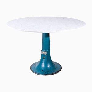 Runder industrieller Konsolentisch mit Tischplatte aus Carrara-Marmor von Taylor Hobson, 1920er