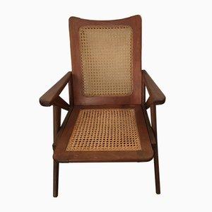 Armlehnstuhl aus Teak mit geflochtenem Sitz, 1950er
