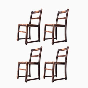 Elm Chapel Chairs, 1920s, Set of 4