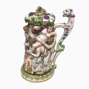 Große antike Keramikvase mit Deckel von Capodimonte