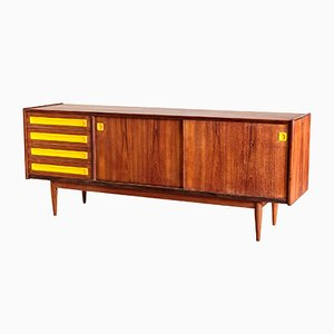 Mid-Century Danish Teak Sideboard with Yellow Details, 1960s