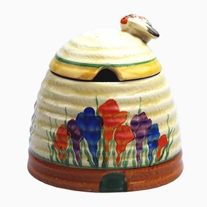 British Art Pottery Bizarre Autumn Crocus Honey Pot by Clarice Cliff, 1920s