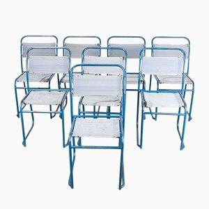 Esszimmerstühle mit Stahlrohrgestell & Leinensitz, 1940er, 8er Set