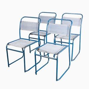 Sillas de comedor de metal tubular con asientos de lona. Juego de 4, años 40
