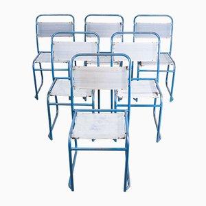 Esszimmerstühle mit Stahlrohrgestell & Leinensitz von Pel & Cox, 1940er, 6er Set