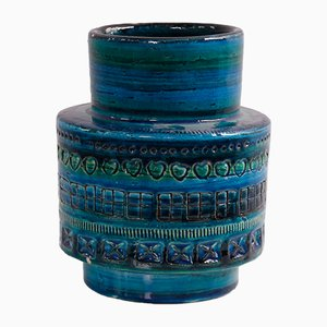 Vaso Rimini in ceramica blu di Aldo Londi per Bitossi, anni '60
