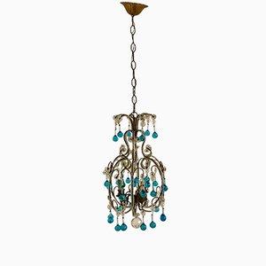 Lustre Vintage en Perles de Cristal avec Pendants en Verre de Murano Bleu