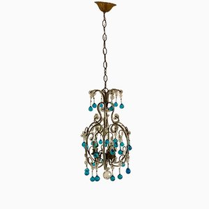 Vintage Blue Murano Pendants & Crystal Beaded Chandelier