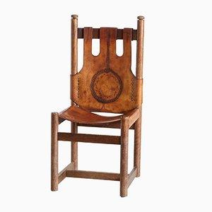 Vintage Stuhl mit Lederauflage mit folkloristischen Motiven, 1976