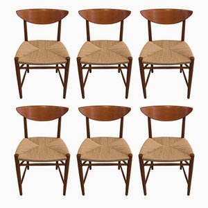 Model 316 Chairs by Peter Hvidt & Orla Mølgaard-Nielsen for Søborg Møbelfabrik, 1950s, Set of 6