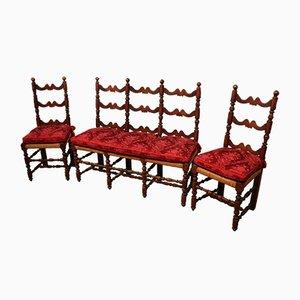 Juego de sofá y dos sillones antiguo de nogal