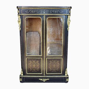 19th Century French Ebonised Bookcase with Brass and Ormolu Mounts