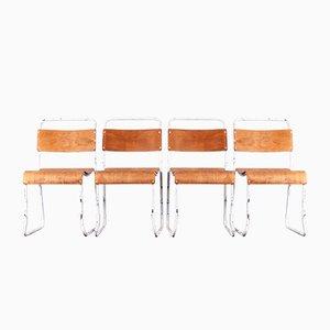 Esszimmerstühle aus weißem Metall & Schichtholz von Vintage Steel Company, 1960er, 4er Set