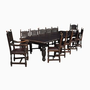 Vintage Carved Oak Dining Table & 12 Chairs Set