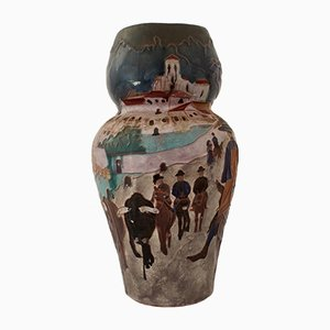 Antique Rural Landscape Vase by Daniel Zuloaga