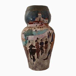 Vase Paysage Rural Antique par Daniel Zuloaga