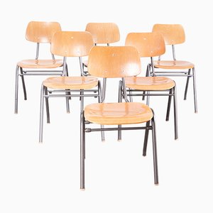 School Dining Chairs, 1960s, Set of 6