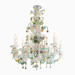 Venetian Green Murano Glass Chandelier, 1930s