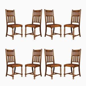 Vintage Esszimmerstühle aus Eiche mit hoher Rückenlehne, 1980er, 8er Set