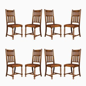 Vintage Oak Highback Dining Chairs, 1980s, Set of 8