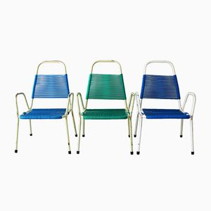 Mid-Century Metal Garden Stacking Chairs, 1960s, Set of 3