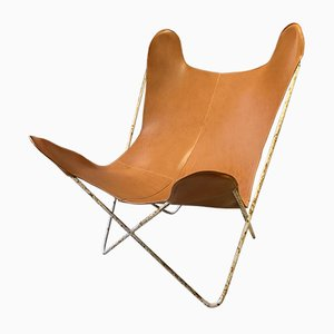 Leather Butterfly Armchair from Knoll, 1950s