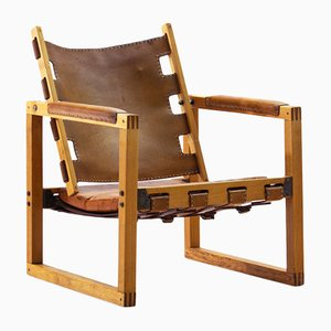 Eucalyptus Wood & Cognac Leather Safari Chair by Peder Hansen for Taraire Crafts, 1967