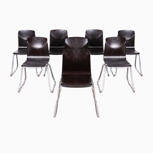 Laminated Hardwood & Chrome Dining Chairs from Pagholz, 1960s, Set of 8