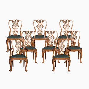 Vintage Walnut Dining Chairs, Set of 8
