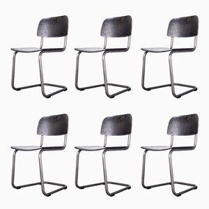 Laminated Wood Cantilever Dining Chairs, 1970s, Set of 6