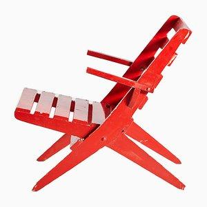 Vintage Red Folding Garden Chair, 1970s