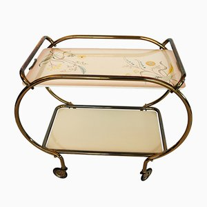 Golden Serving Trolley with Ceramic Trays from Grünstadt, 1950s