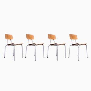 Esszimmerstühle mit Gestell aus Aluminium, 1970er, 4er Set