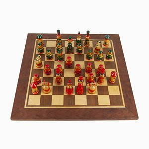 Swedish Hand Painted Teak Chess Set, 1960s