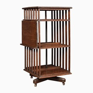 Vintage Oak 3-Tier Revolving Bookcase