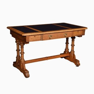 Victorian-Style Oak Writing Table by Lamb of Manchester, 1980