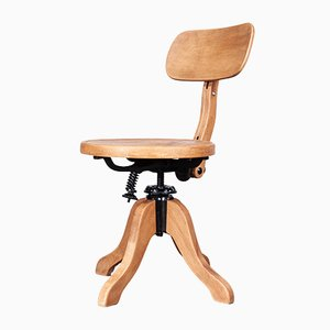 Swivelling Wooden Desk Chair from Thonet, 1950s