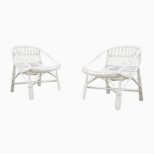 Vintage Egg Shaped Bamboo Armchairs, Set of 2