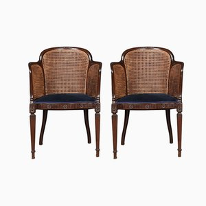 Vintage Mahogany Bergere Armchairs, Set of 2