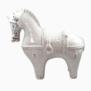 Large White Ceramic Horse by Aldo Londi for Bitossi, 1960s