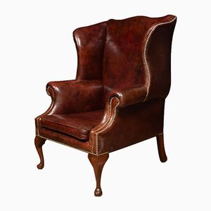 Large Vintage Leather Upholstered Wingback Armchair