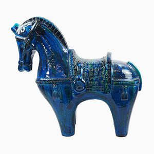 Large Mid-Century Rimini Blue Ceramic Horse by Aldo Londi for Bitossi, 1960s