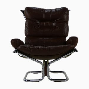 Sedia Sling in pelle marrone di Ingmar Relling