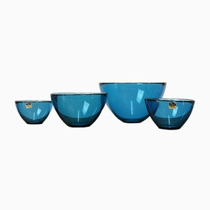 Mid-Century Swedish Fuga Series Bowl Set by Sven Palmqvist for Orrefors, 1950s